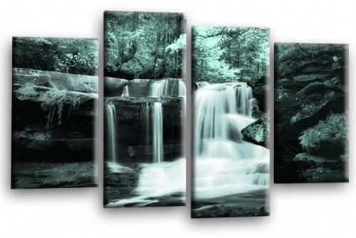 Forest Waterfall Canvas Wall Art Picture Print Duck Egg Black Grey